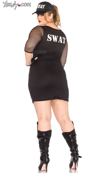 Plus Size Sexy SWAT Officer Costume - Black