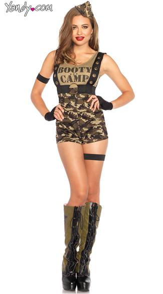 Booty Camp Cutie Costume, Sexy Soldier Costume, Sexy Soldier Romper Costume