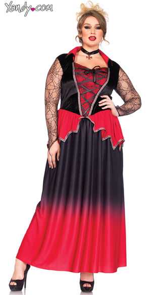 Plus Size Bitten Beauty Costume, Plus Size Vampire Costume, Plus Size Red and Black Costume