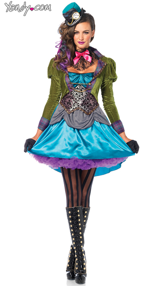 Sexy Mad Hatter Costume, Green Hatter Costume
