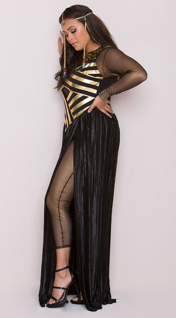 Plus Size Goddess Isis Costume - Black/Gold