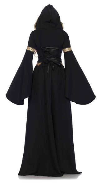 Black Pagan Witch Costume - Black/Gold