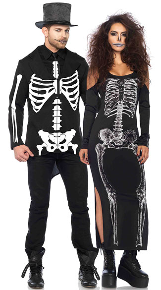 Cold Shoulder Skeleton Couple Costume, Cold Shoulder Skeleton Costume, Sexy Skeleton Costume, Skeleton Dress Costume, Men\'s Bone Daddy Costume, Men\'s Skeleton Costume, Men\'s Bone Costume