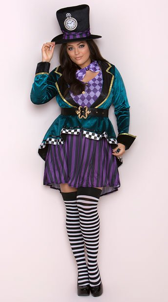 Plus Size Delightful Hatter Costume, Plus Size Mad Tea Party Costume - Yandy.com