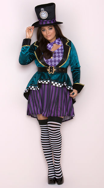 size delightful hatter costume, plus size mad tea party costume