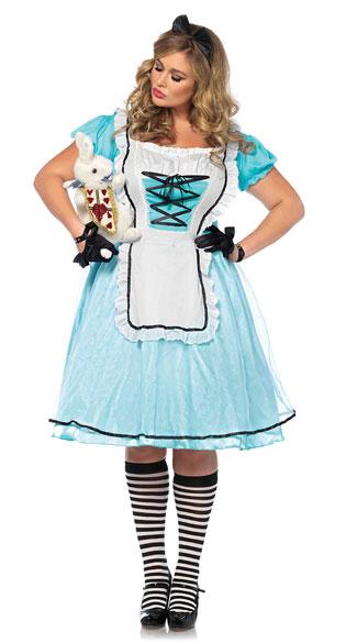 Plus Size Tea Time Alice Costume - Blue/White