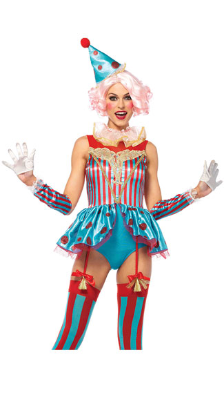 Colorful Circus Clown Costume - As Shown