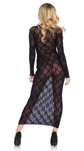 Bow Lace Long Sleeve Dress - Black