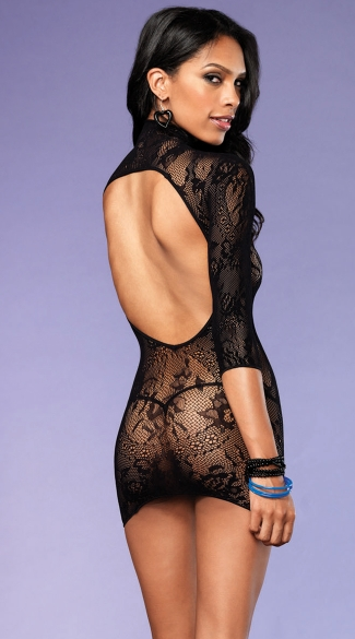 Floral Lace High Neck Chemise - Black