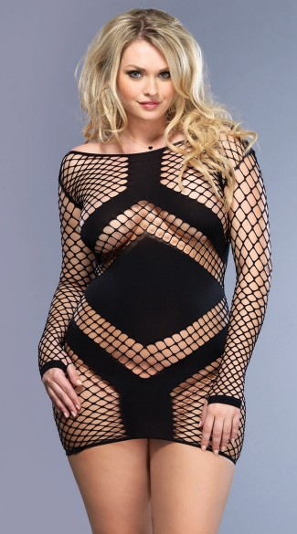 Plus Size Fishnet Chevron Mini Dress, Black Plus Size Dresses Cheap, Plus Size Evening Wear