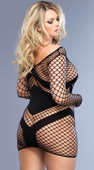 Plus Size Fishnet Chevron Mini Dress - Black