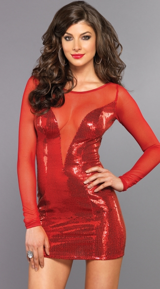 Naughty And Nice Red Mesh And Sequin Cocktail Dress Sexy