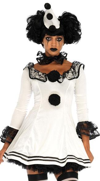 Pierrot Clown Costume - White/Black