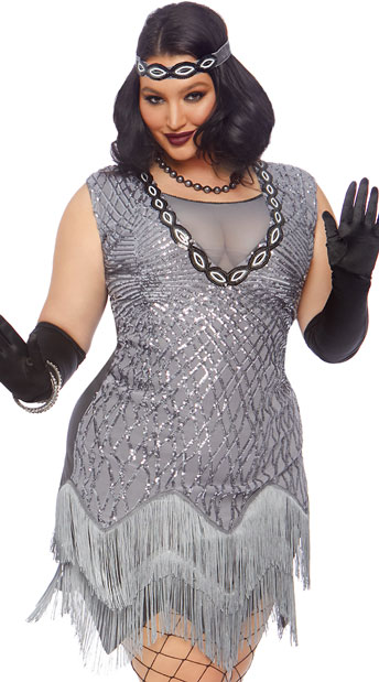 Plus Size Roaring Roxy Costume, plus size silver flapper costume - Yandy.com