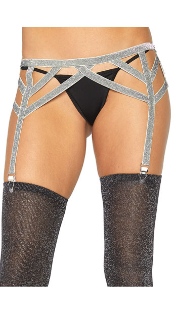 Shimmer Lurex Elastic Garter Belt - Silver