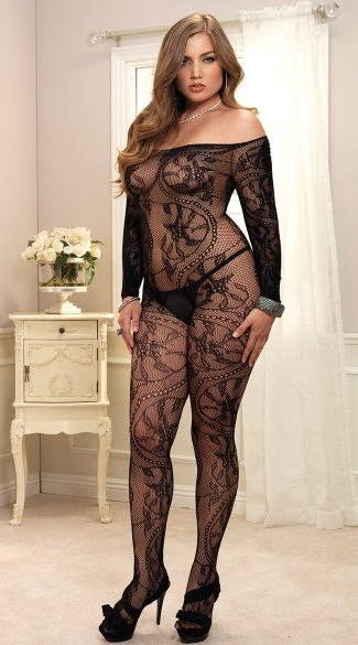 Plus Size Spiral Lace Bodystocking - Black