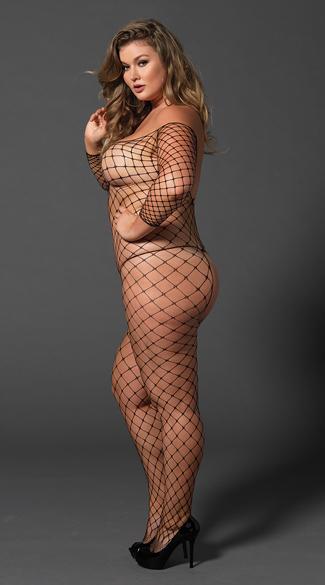 Plus Size Fence Net Bodystocking - Black