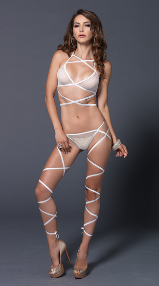 Wrap Around Fishnet Halter and G-String Set - White