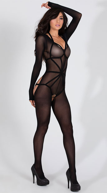 Long Sleeved Bodystocking with Illusion Cage Teddy - Black