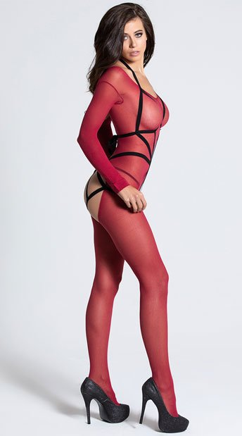 Long Sleeved Bodystocking with Illusion Cage Teddy - Burgundy