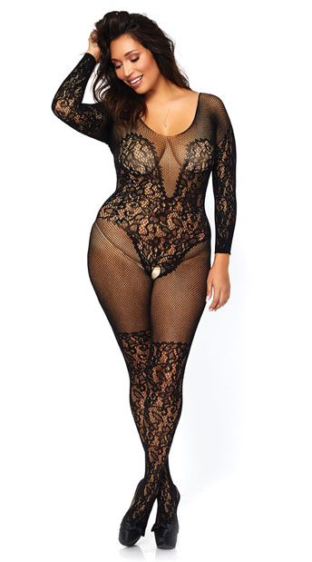 Plus Size Lace and Fishnet Bodystocking - Black