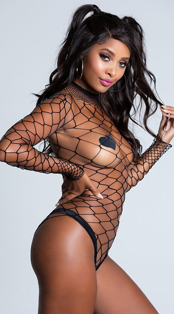 High Neck Fence Net Bodysuit - Black