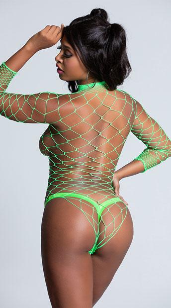 High Neck Fence Net Bodysuit - Neon Green
