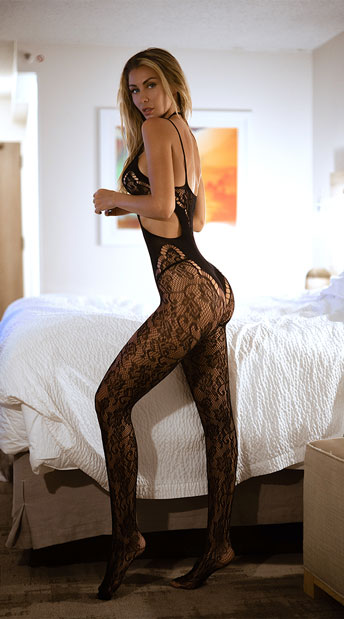 Floral Lace Choker Bodystocking - Black