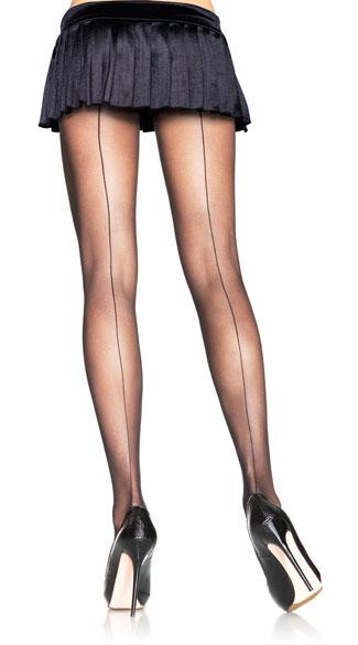 Sheer Backseam Pantyhose - Black
