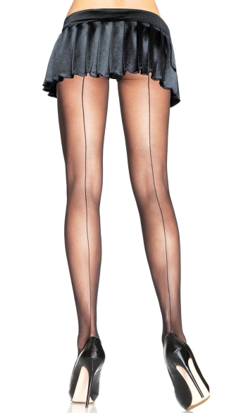 Plus Size Back Seam Pantyhose - Black