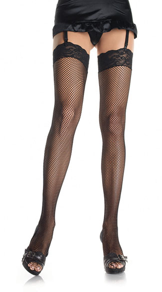 Sexy See-Thru Fishnet Thigh Hi - Black