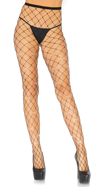 Iridescent Rhinestone Fence Net Tights - Black