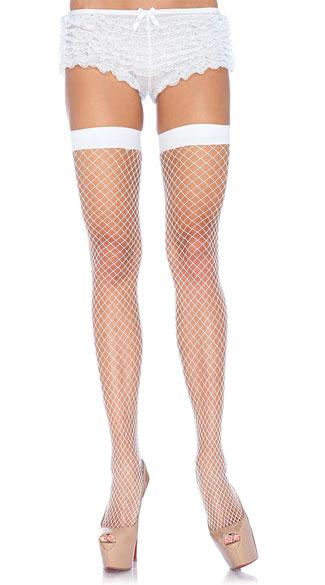 Lycra Industrial Fishnet Thigh Highs - White