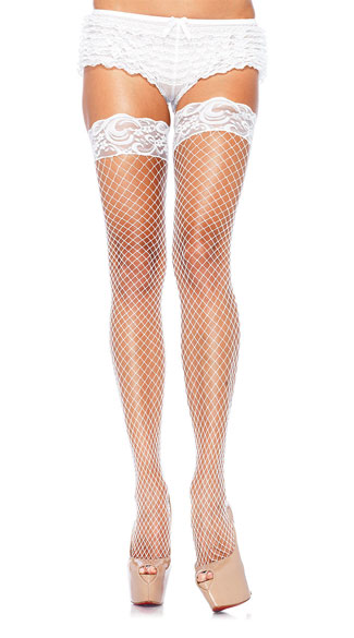Stay Up Lycra Industrial Fishnet Thigh High - White