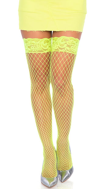 Stay Up Lycra Industrial Fishnet Thigh High - Neon Yellow