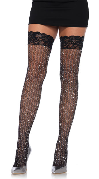 Shimmering Cable Net Thigh Highs - Black