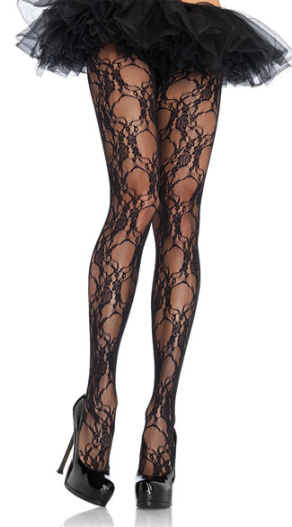 Flower Print Lace Pantyhose, Floral Pantyhose, Floral Hoisery