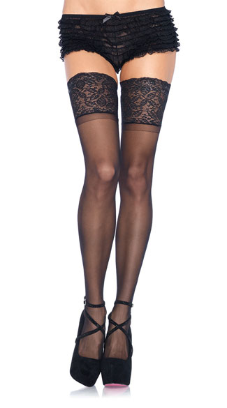 Lycra and Lace Thigh High Stockings - Black