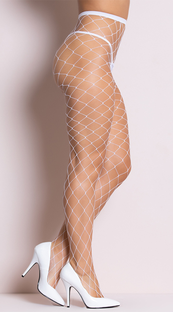 Fence Net Pantyhose - White