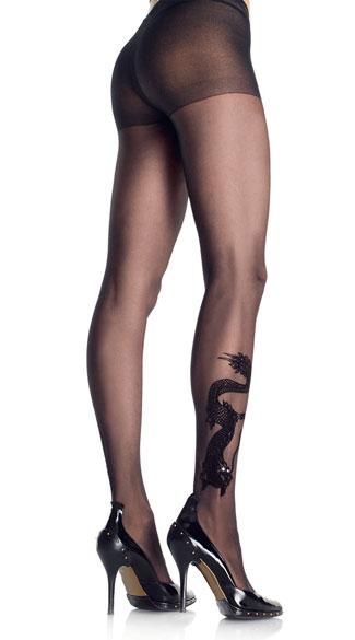 Dragon Tattoo Sheer Pantyhose with Rhinestones - Black