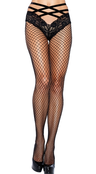 Net Pantyhose with Lace Cage Panty - Black