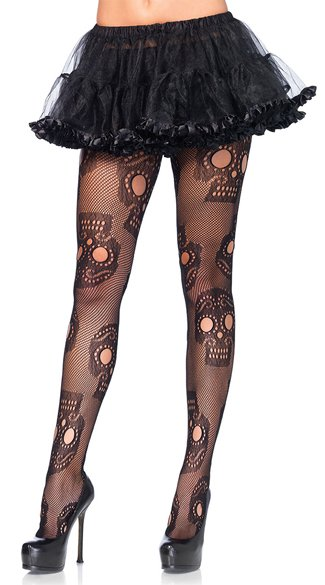 Plus Size Sugar Skull Fishnet Pantyhose, Plus Size Fishnet Pantyhose, Plus Size Skull Pantyhose - Yandy.com