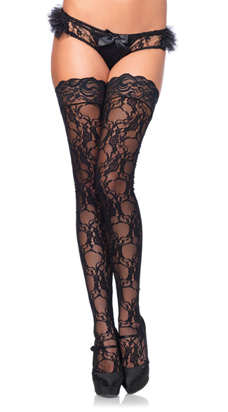 Stay-Up Floral Lace Thigh Highs, Lace Thigh Highs, Sheer Thigh Highs