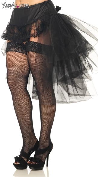 Plus Size Tulle Bustle Skirt - Black