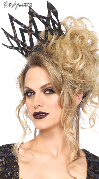 Metallic Lace Imperial Crown, Black Queen Crown, Evil Queen Crown