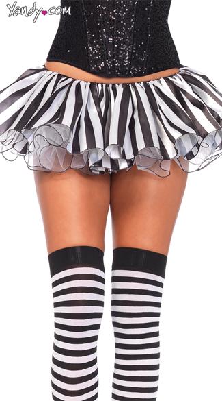 Striped Satin and Chiffon Tutu - Black/White