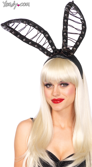 Oversized Lace-Up Bunny Ears - Black