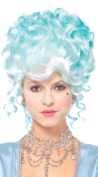Pastel Powdered Wig, Blue Curly Wig, Curly Updo Wig
