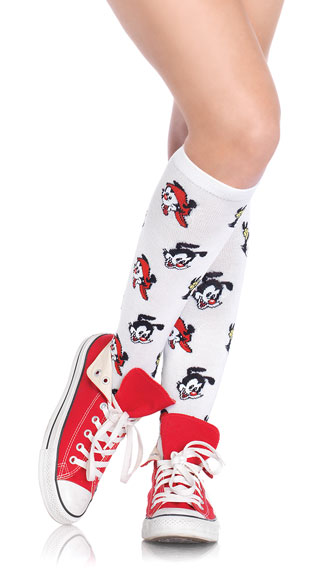 Animaniacs Knee High Socks, White Knee High Stockings, Animaniacs Socks