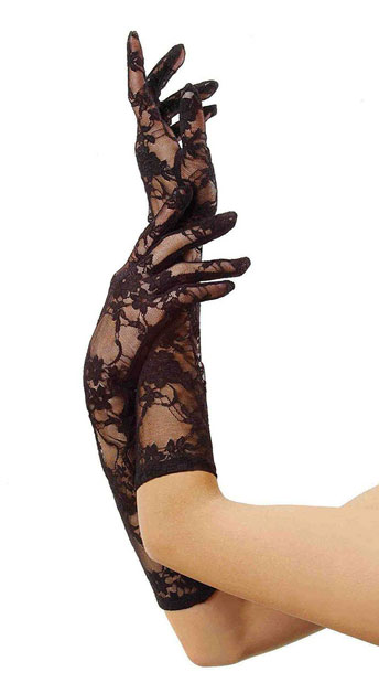 Stretch Lace Gloves Elbow Length - Black
